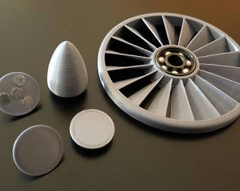 Custom Jet Engine Fidget Spinner /Turbine Impeller Air Powered - Ceramic Bearing