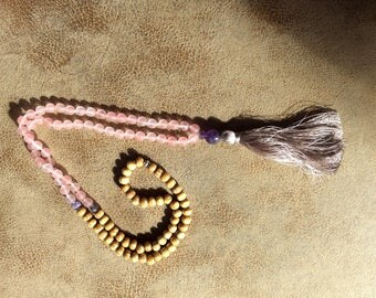 Rose quartz and amethyst meditation/mala beads