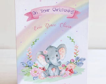 Baby Elephant Christening Card