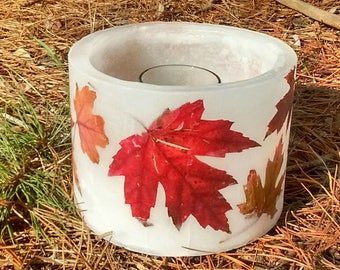 Real Autumn Leaf Wax Lantern