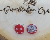 Round Fabric Covered Button Earrings - Red polka dot