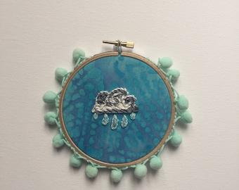 Rainy days embroidery hoop art, rain embroidery, wall hanging, pom poms, rainy city