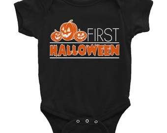 First Halloween Baby Bodysuit | Baby Clothes | Baby Shower Gift | Jack-O-Lantern Baby Clothing | Rabbit Skins 4400 Infant Baby Rib Bodysuits