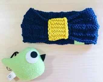 Bandeau en laine mérinos Oeko-Tex bleu et jaune