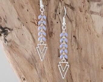 Chain blue and silver spike charm double triangle (BO141AGlavande) dangling earrings