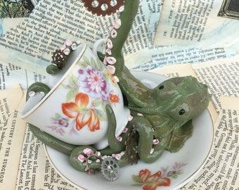 Green steam punk octopus sculpture/earrings holder/ trinket holder by artist Lauren Dunn