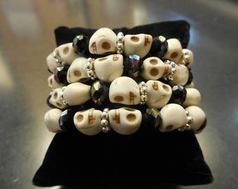 White Howlite Skull Bead and Crystal Memory Wire Bracelet