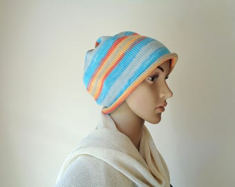 Slouchy beanie hat Cotton knit hat Blue orange slouchy beanie Cotton hat Slouchy hat Cotton beanie Knit beanie hat Knitted hat