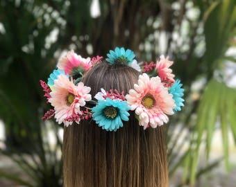 Light Pink & Baby Blue Flower Crown