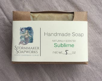 Sublime, Natural Lime, Ginger Bath Bar, Soothing, Palm Free, Gluten Free, Handmade Soap