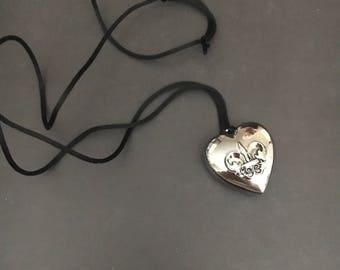 Adjustable black and silver locket necklace