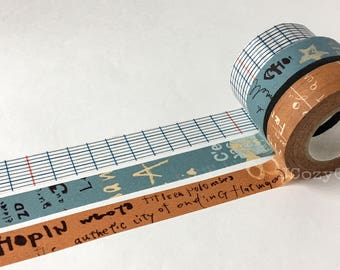 SAMPLE Washi Tape Classiky Graffiti blue brown & Grid blue