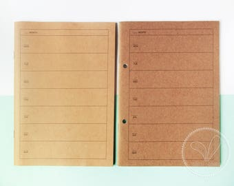 Muji A5 Kraft Weekly Planner (With or Without Punch Holes) - Note, Notebook, Schedule