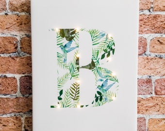 Monstera letter lights, Tropical, Light up letters, Nordic design, Marquee letter, Gift, A B C D E F G H I J K L N O P Q R S T U V W X Y Z &