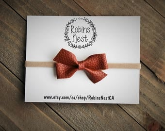 Brown Leather Bow