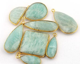 50% off 8 Pcs 24K Gold Plated Amazonite Gemstone Faceted Assorted Shape Single Bail Pendant 22mmx9mm-35mmx12mm PC014