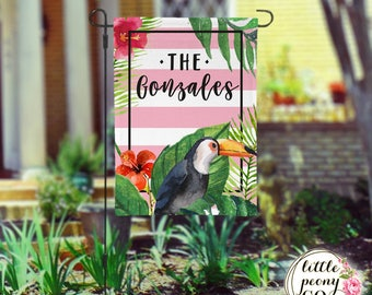 Personalized Garden Flag - Tropical Summer Custom Yard Flag