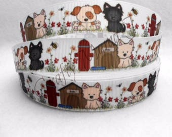 "SALE Cartoon Dogs with Fire Hydrant and Dog House on White  7/8"" Grosgrain Ribbon by the yard. Choose between 3/5/10 yards."