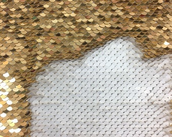 New 5mm Mermaid Reversible Sequin shiny White/shiny Gold Sold By Yard
