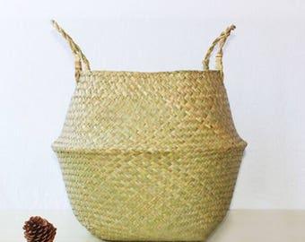 Herbe de mer naturel tissé pliable ventre panier avec poignée pour le rangement, Pot de fleur de plante, linge