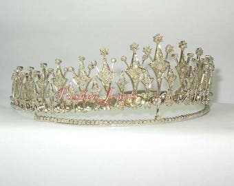 Victorian style 15.60ct. natural rose cut diamonds sterling silver wedding tiara hair accessory based on royal tiara
