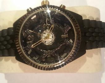 Custom Black Fashion Steampunk Skeleton Watch