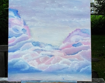 Oil painting skyscape - clouds - 40x40cm/16x16inch - original artwork - sky painting - clouds painting - wall art - colorful painting