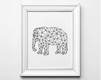 Elephant Print, Black and White Elephant Art, Origami Elephant, Elephant Art Print, Printable Elephant Poster, Elephant Nursery Art