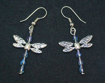 Dragonfly Earrings with Blue ab Glass Beads
