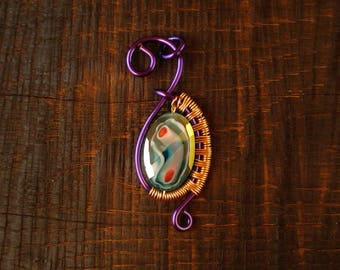 Purple and Copper Wirewrapped Millefiori Glass Pendant