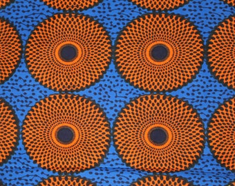 Blue and Orange african fabric / African fabric wholesale / African fabrics sale / Wax prints / Dutch wax