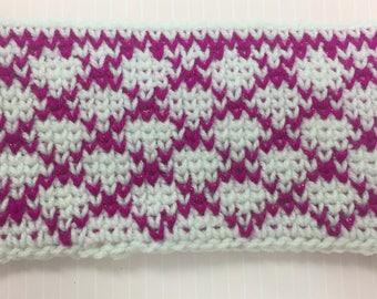 Pink Diamonds Crochet Pouch
