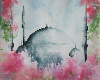 ORIGINAL watercolor painting, Mosque watercolor, Mosque painting, Istanbul watercolor, Istanbul painting