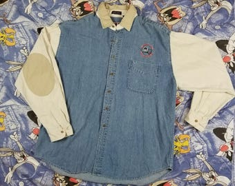 Vintage 90s Eskimo Joe's StillWater OK Boa Resort Denim Jean XL Shirt