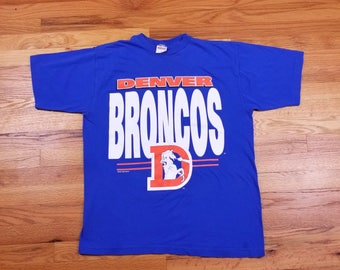 Vintage 90s 1994 Denver Broncos Big Logo T Shirt size Large