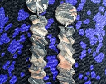black and copper wigglers dangle earring