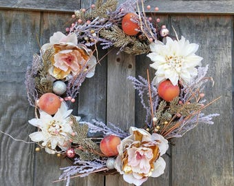 Floral Wreath/Shimmery Wreath/Unique Wreath/Lighted Wreath/Peachy Pink Wreath/Winter To Spring Decor/Front Door Wreath/Romantic Dec