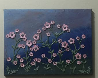 Original abstract relief art on stretched canvas showcasing impasto textured background with pink/brown flowers handmade from polymer clay.