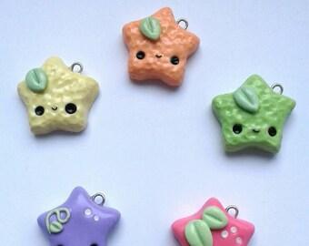 Polymer clay kawaii fruit stars