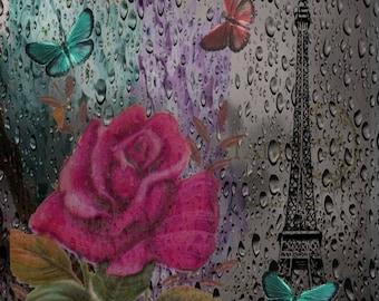 Paris Rose Print, Red Rose Teal Butterfly Gray Decor Eiffel Tower Wall Art