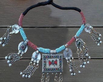 Afghan statement dangle necklace/ vintage afghan jewelry