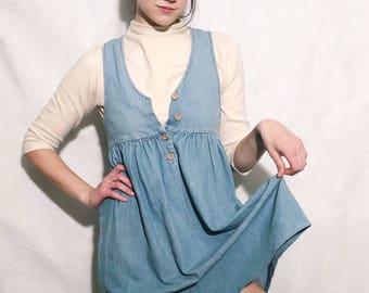 Denim Babydoll Jumper Dress