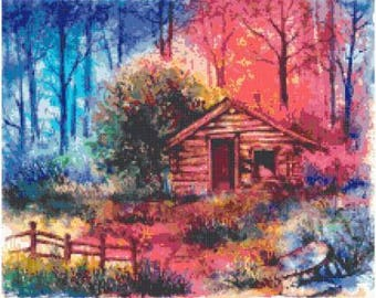 Fire Cabin Cross Stitch Chart