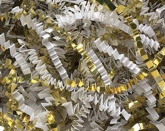 Gold and white, Gold Metallic Crinkle  Blend  Gift Basket Shred, Crinkle Paper ,Filler paper, Basket Filler , Cut Paper Shred, Eco Friendly