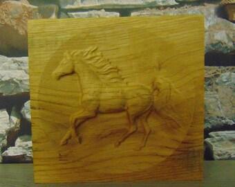 3D OAK Engraved Horse Plaque
