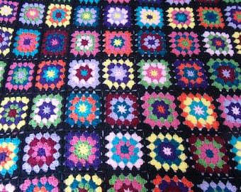Handmade crochet granny square blanket-jewel toned
