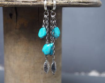 Turquoise 925 oxidized sterling silver earrings, Bali silver