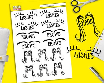 Beauty School Drop-out! Hair, lashes, eyebrows planner stickers (waxing, haircut, eyelashes)