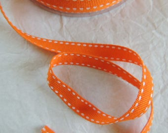 Width 1 cm orange and white stitched grosgrain