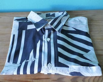 VINTAGE SHIRT, short sleeves, Navy, stripes, marinara, size M